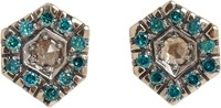 Fabrizio Riva Brown And Blue Diamond Hexagonal Stud Earrings Colorless