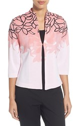 Women's Ming Wang Embroidered Mandarin Collar Knit Jacket