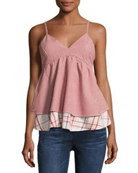Romeo And Juliet Couture Ruffled Gingham Tank Top Red Pattern