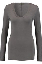 Enza Costa Stretch Cotton Jersey Top Anthracite