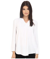 Kensie Soft Rayon Twill Top Ks3k4626 White Women's Blouse