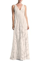 Dress The Population Women's Marlene Plunging Embroidered Mesh Maxi