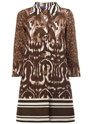 Herno Animal Print Buttoned Coat Brown