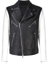 Neil Barrett Contrast Sleeve Biker Jacket Blue