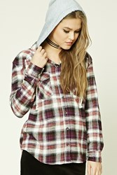 Forever 21 Hooded Plaid Flannel Shirt Cream Rust