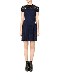 The Kooples Ribbed Lace Inlay Dress Navy