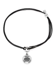 Alex And Ani Queens Crown Pull Cord Bracelet Black