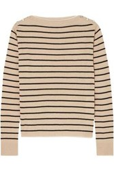 Max Mara Embellished Striped Silk And Linen Blend Sweater Sand