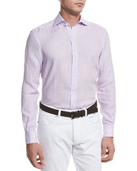 Ermenegildo Zegna Linen Long Sleeve Sport Shirt Lilac Purple