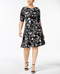 Charter Club Plus Size Belted Fit And Flare Dress Created For Macy's Deep Black Combo