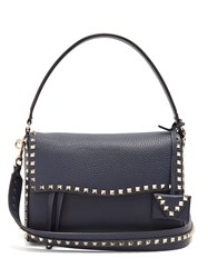 Valentino Rockstud Leather Shoulder Bag Navy