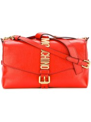 Moschino Letters Buckle Shoulder Bag Red