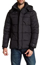 Ben Sherman Quilted Long Sleeve Hooded Jacket Black