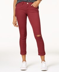 Dollhouse Juniors' Colored Ripped Cropped Jeans Merlot