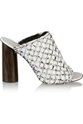 Proenza Schouler Fringed Leather Mules White