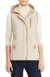 Lauren Ralph Lauren Women's Hooded Quilted Vest Light Sand