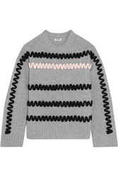 Kenzo Appliqued Wool Sweater Light Gray