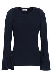 Sandro Paneled Ribbed Knit And Crepe De Chine Top Navy