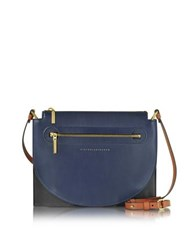Victoria Beckham Color Block Leather Moon Light Crossbody Bag Navy Blue