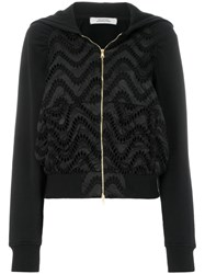 Dorothee Schumacher Embroidered Zipped Hoodie Cotton Polyamide Polyester Black