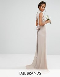 Tfnc Tall Wedding High Neck Maxi Dress With Bow Back Mink Pink