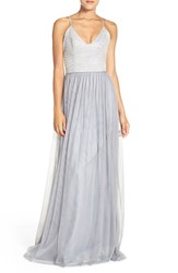 Hayley Paige Occasions Women's Metallic Lace And Tulle Spaghetti Strap Gown Silver Pewter