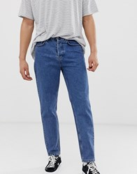 Solid Tapered Dad Fit Jeans In Mid Blue Wash