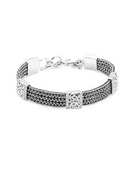 Lois Hill Handwoven Sterling Silver And Diamond Bracelet