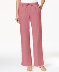 Charter Club Linen Pull On Drawstring Pants Only At Macy's Crushed Peony