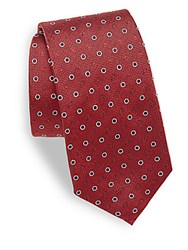 Moschino Spotted Pattern Silk Tie Red