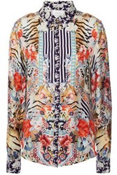 Camilla Woman Crystal Embellished Printed Silk Twill Shirt Animal Print