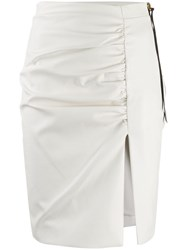 Nineminutes Leo Leather Look Ruched Skirt White