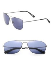 Montblanc Thin Frame 59Mm Metal Sunglasses Gunmetal Blue
