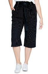 Elvi Plus Size Women's Pinstripe Crop Pants