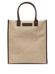 Want Les Essentiels Aberdeen Leather Trimmed Canvas Tote Bag Beige
