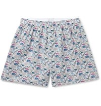 Sunspel Printed Cotton Boxer Shorts Multi