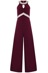 Quiz Berry Diamante Palazzo Jumpsuit Red