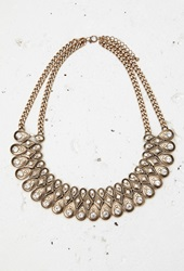 Forever 21 Rhinestone Statement Necklace Antic Gold Clear