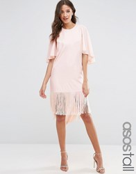 Asos Tall Flutter Sleeve T Shirt Dress With Fringe Hem Nude Pink