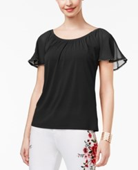 Thalia Sodi Flutter Sleeve Top Only At Macy's Deep Black