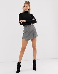 Miss Sixty Houndstooth Mini Skirt With Logo Tape Detail Black