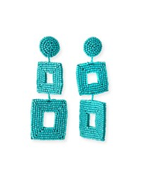 Kenneth Jay Lane Double Square Seed Bead Drop Earrings Turquoise