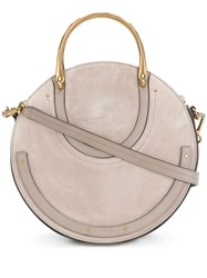 Chloe Pixie Tote Bag Cotton Calf Leather Calf Suede Grey