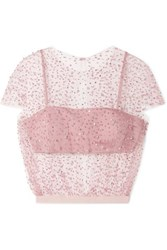 Reem Acra Embellished Tulle And Silk Faille Top Pink