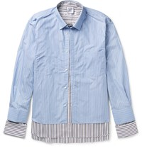 Vetements Comme Des Garcons Shirt Oversized Layered Striped Cotton Poplin Shirt Blue