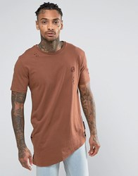 Criminal Damage T Shirt With Distressing Brown