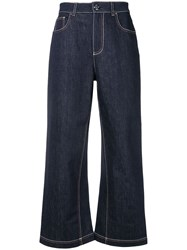 Fendi Flared Cropped Jeans Blue