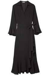 Michael Kors Collection Woman Ruffled Silk Georgette Wrap Dress Black