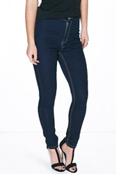 Boohoo Sarah Disco Jean With Contrast Stitch Indigo