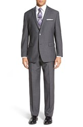 Andrew Marc New York Men's Big And Tall Andrew Marc 'Carlton' Classic Fit Solid Wool Suit Grey